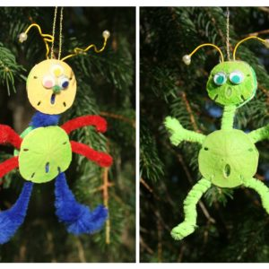 Sand Dollar Alien Christmas Ornament