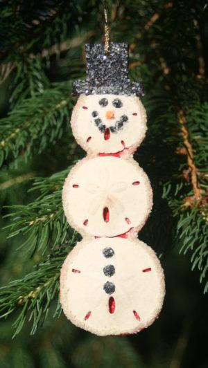 Sand dollar Snowman Christmas ornament