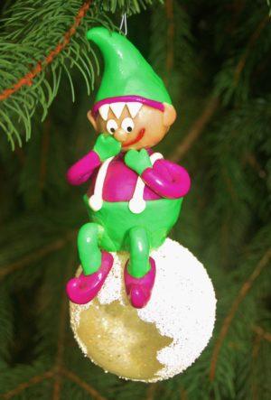 Snowballing Elf Christmas ornament
