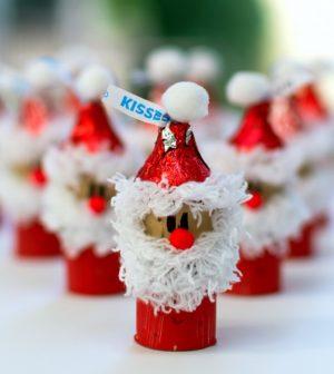 Hershey Kiss-mas Santa wine cork ornament