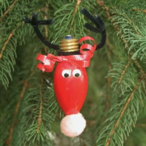 Reindeer light bulb Christmas ornament