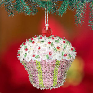 Sequin Cupcake Christmas ornament
