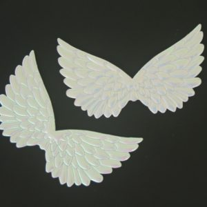 Angel Wings 4.75″ embossed white iridescent