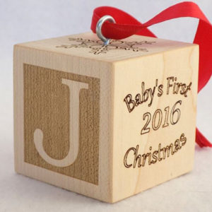 Custom Baby's First Christmas ornament block