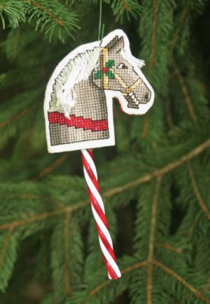 Needlepoint ornament; Candy cane cover; cross stitch; horse