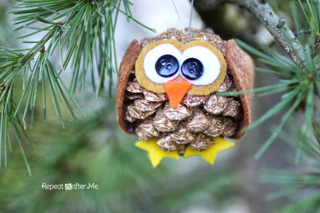 Pinecone Owl Christmas ornament  Homemade Christmas Ornaments