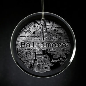 """The City I Love"" street map made of Crystal Christmas ornament"
