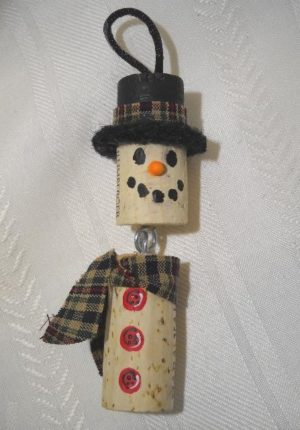 wine cork craft; cork Christmas ornament