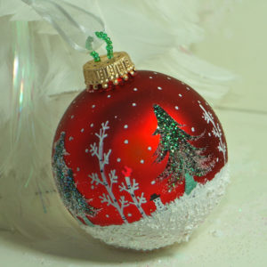 Winter Wonderland hand painted glass Christmas ornament