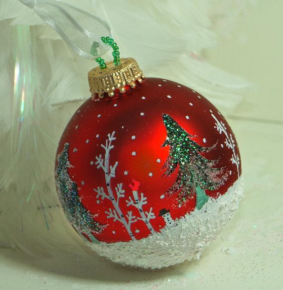 Winter Wonderland Hand Painted Glass Christmas Ornament Homemade