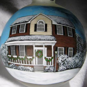 """My Home"" custom hand painted Christmas ornament"