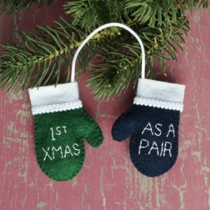 "Snuggle-Up! with ""First Christmas Together"" pair-of-mittens ornament"