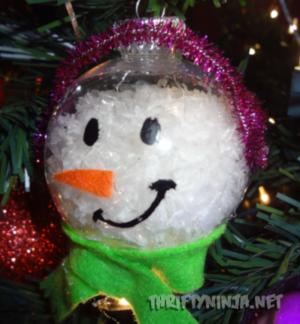 Glass ball; clear glass ornament; snowman Christmas ornament