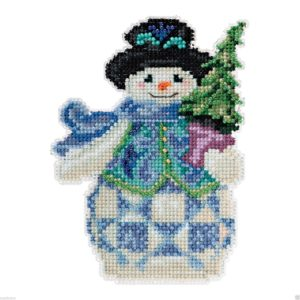 Evergreen Snowman cross-stitch Christmas ornament