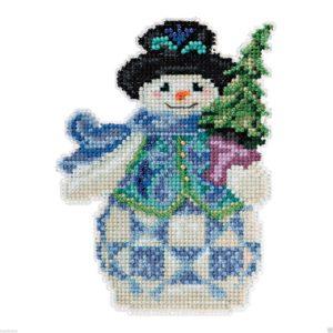 Evergreen Snowman cross-stitch Christmas ornament
