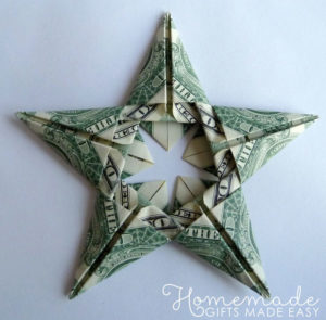 Money-gift Origami Stars Christmas ornament