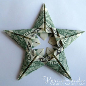 Money-gift Origami Stars Christmas ornament