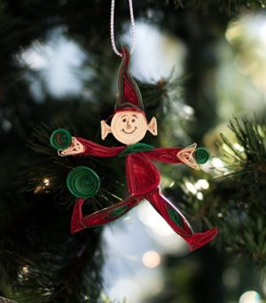 Elf Christmas ornament; Quilling Christmas ornament; paper craft