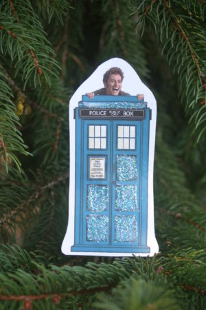 paper craft cutout; handmade Christmas ornament; Dr Who ornament;