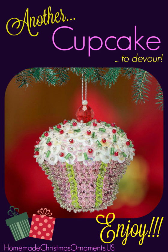 Sequin Cupcake ornament kit