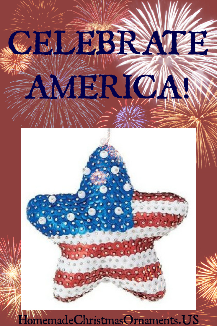 Dazzling Xmas ornament w/ its patriotic colors of red, white and blue, it is an affectionate tribute announcing: