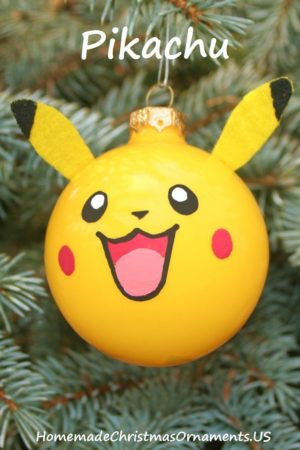 glass ball ornament; picachu christmas ornament; pokemon christmas ornament
