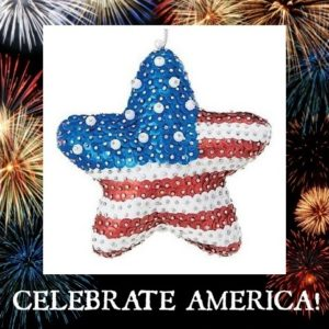 """Celebrate America!"" STAR sequin Christmas ornament"