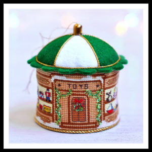 Old Fashioned Toy Store cross-stitch Christmas ornament
