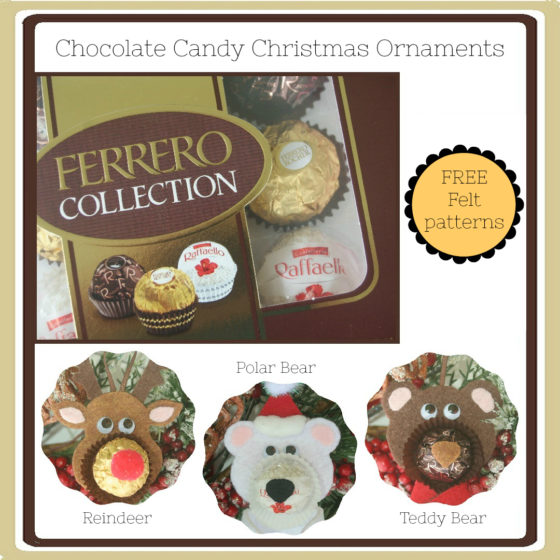 "Cute ""Nosy"" felt ornaments to make with FERRERO Rocher chocolates"