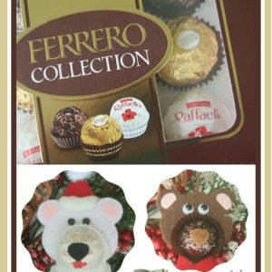 Rocher chocolates: Reindeer, Teddy & Polar bear felt Christmas ornaments