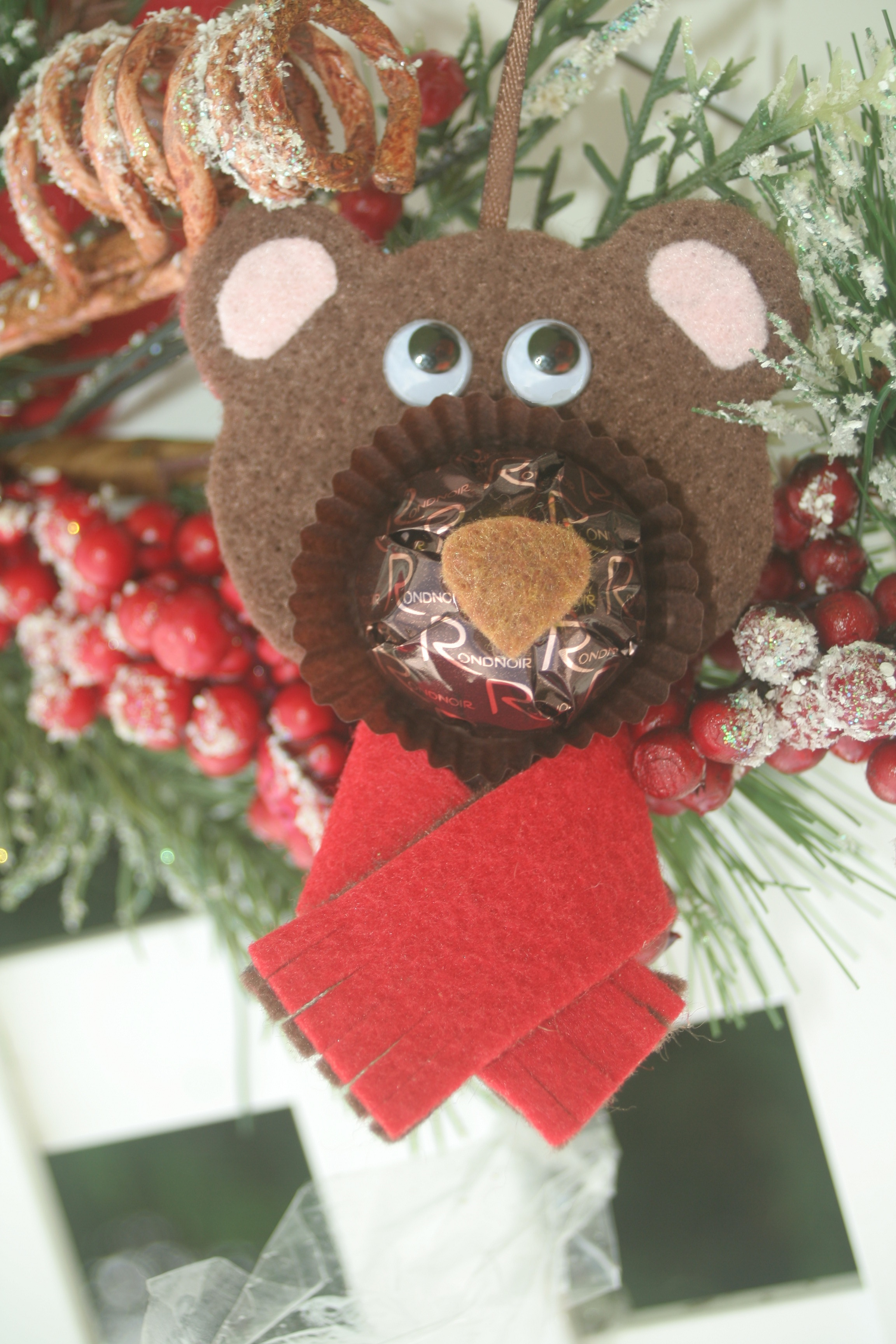 felt polar bear ferrero rocher collection christmas ornament