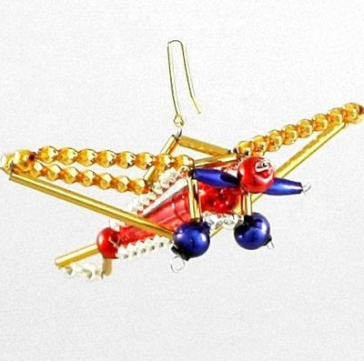 Czech Beaded Christmas ornament; Glass bead; Christmas craft; Airplane; Czech beads