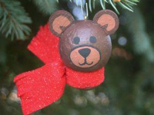 wine cork craft; christmas craft; Teddy bear ornament;