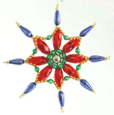 Czech Beaded Christmas ornament; Glass bead; Christmas craft; Snowflake; Czech beads
