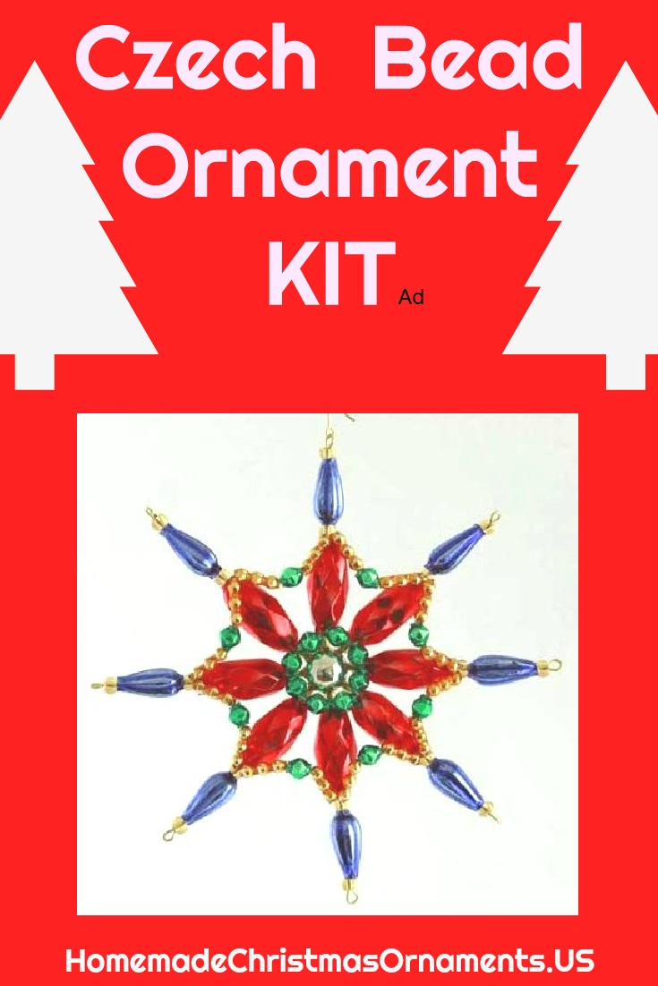 Easy DIY Czech beaded Christmas ornament you can make from authentic blown glass beads produced in very same building since the early 20th Century!