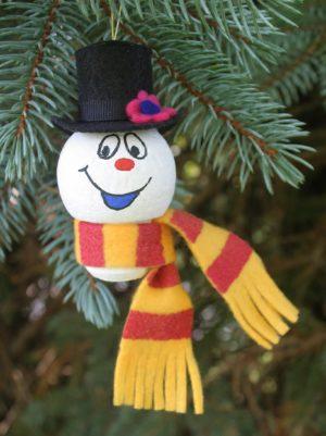 wine cork craft; christmas craft; snowman ornament;