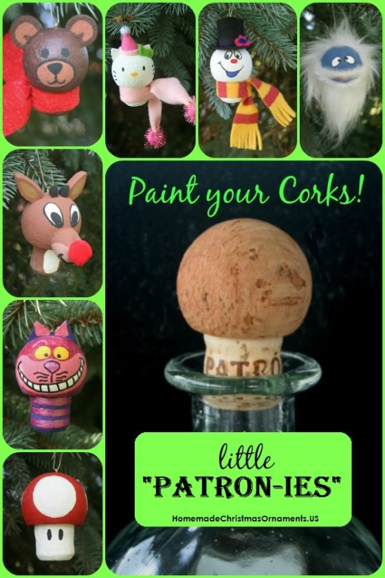 "little ""Patron-ies"" cork Christmas ornaments"