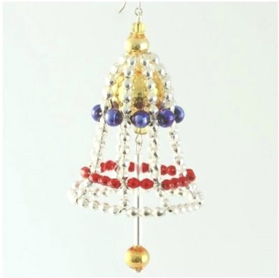 Czech Beaded Christmas ornament; Glass bead; Christmas craft; Bell; Czech beads