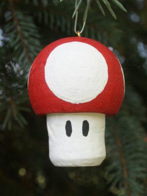 wine cork craft; christmas craft; mushroom ornament;