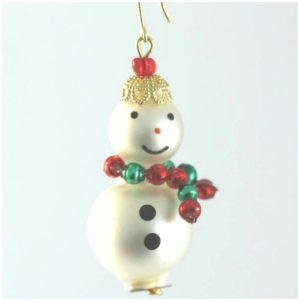 Czech Beaded Christmas ornament; Glass bead; Christmas craft; Snowman; Czech beads