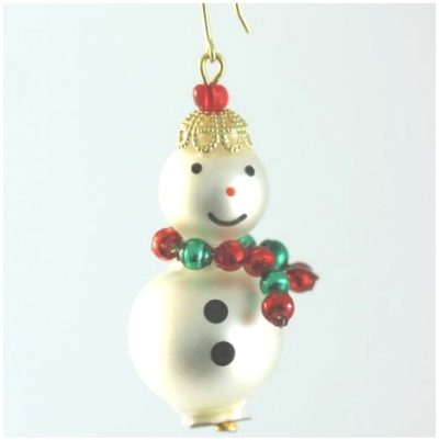 Czech Beaded Christmas ornament; Glass bead; Christmas craft; Snowman; Czech beads