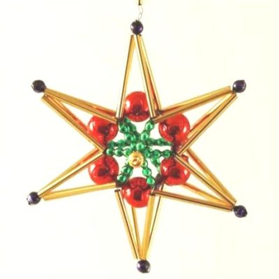 Czech Beaded Christmas ornament; Glass bead; Christmas craft; Star; Czech beads