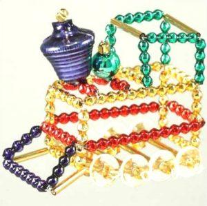 Czech Beaded Christmas ornament; Glass bead; Christmas craft; Train; Czech beads